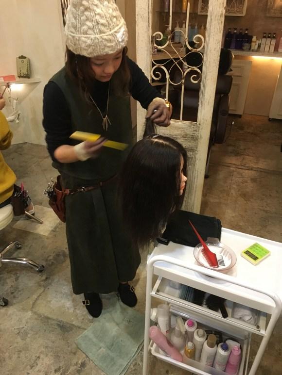 美容師アシスタントの練習