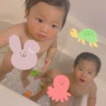 お風呂だいすきな息子たち👦🏻👶🏻